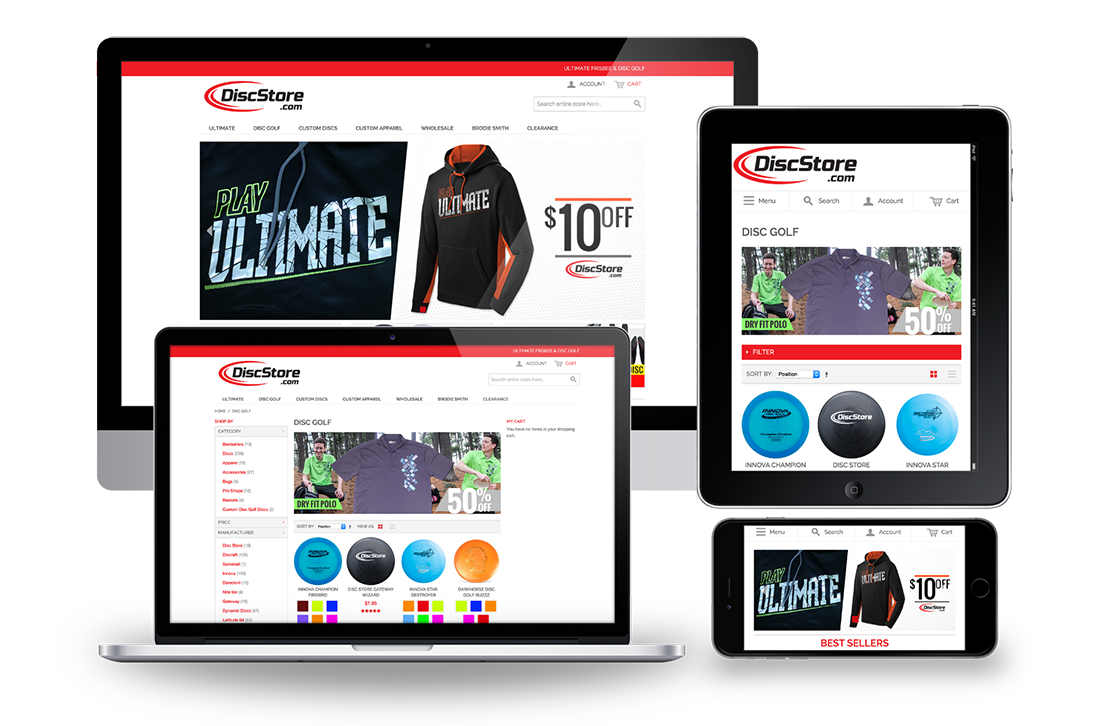 Disc Store Magento Responsive Design for Big Screen, Desktop, Tablet and Mobile