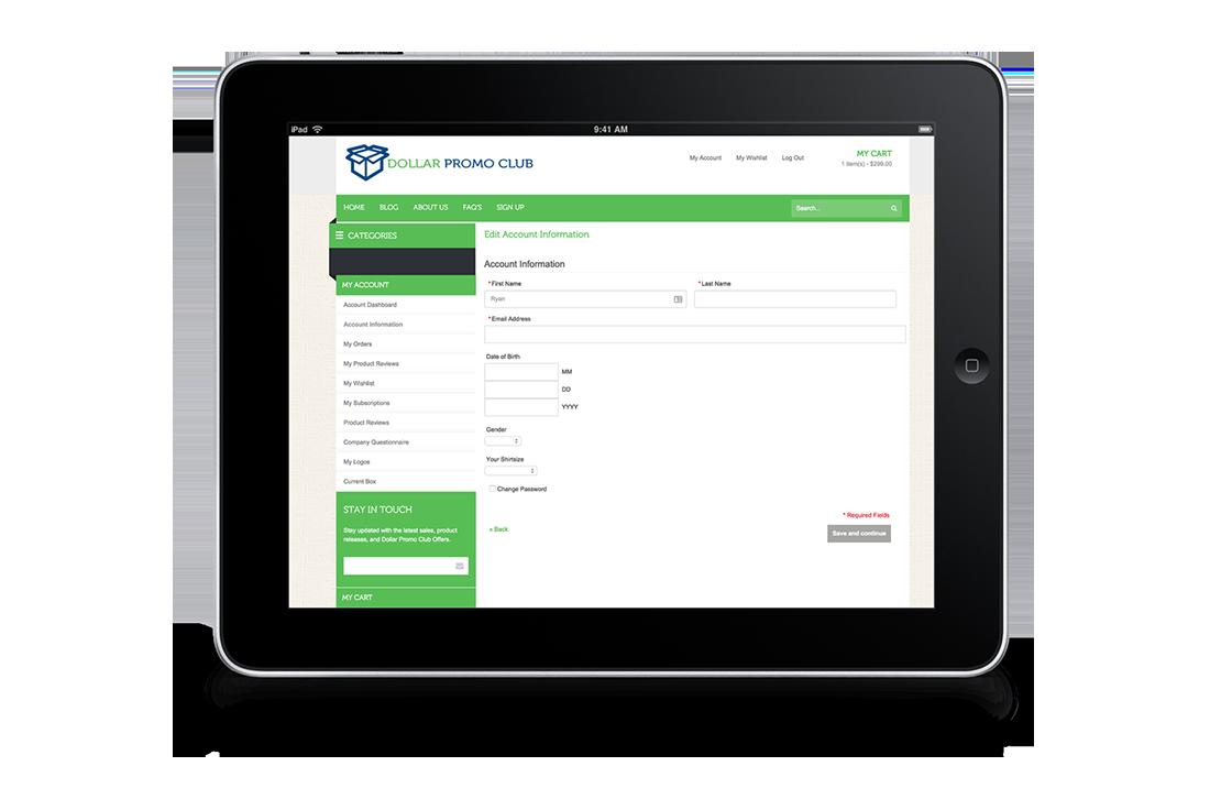 Dollar Promo Club Responsive Tablet Customer Account Design