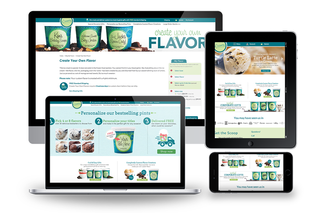 eCreamery Responsive Design Magento for Big Screen, Desktop, Tablet, and Mobile Examples
