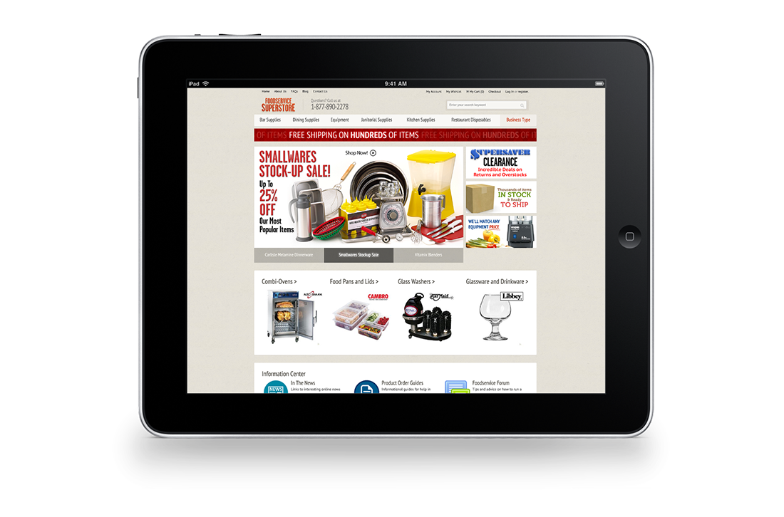 FoodService SuperStore Magento Homepage Responsive Design Tablet