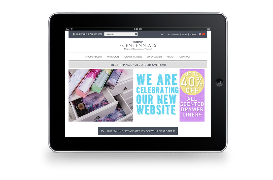 Scentennials Homepage Tablet Responsive Design