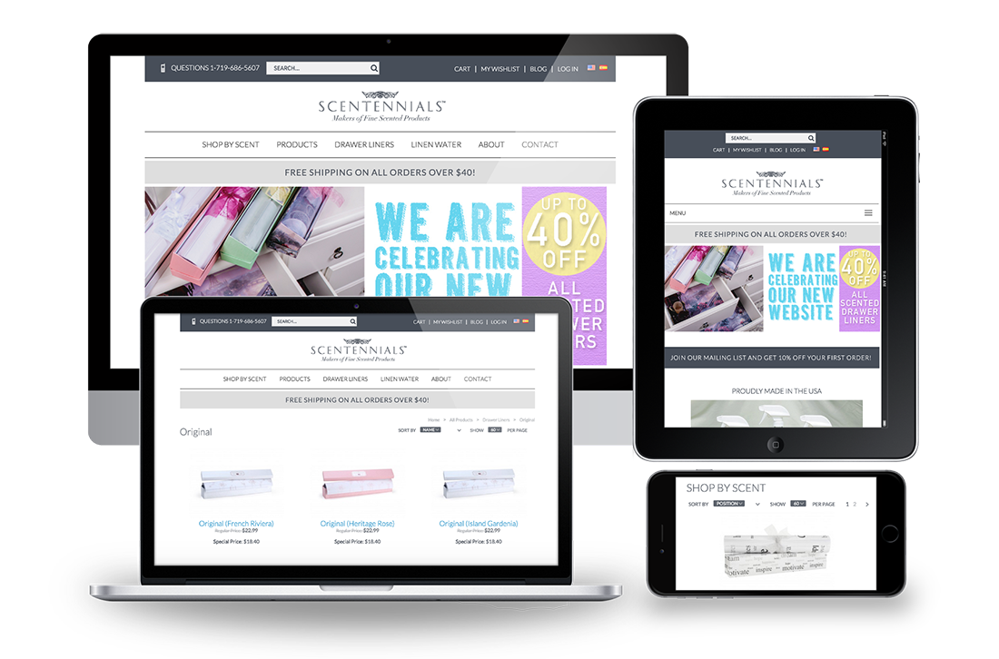Scentennials Magento Responsive Design for Big Screen, Desktop, Tablet and Mobile